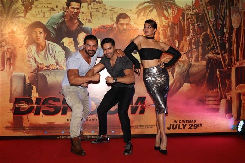 Varun Dhawan, John Abraham, Jacqueline Fernandez at Dishoom Trailer Launch.