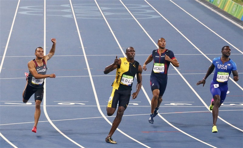 Star Jamaican athlete Usain Bolt wrote his name in the history books, winning his third consecutive Olympic title in the men's 100 metre event at the Rio Games.