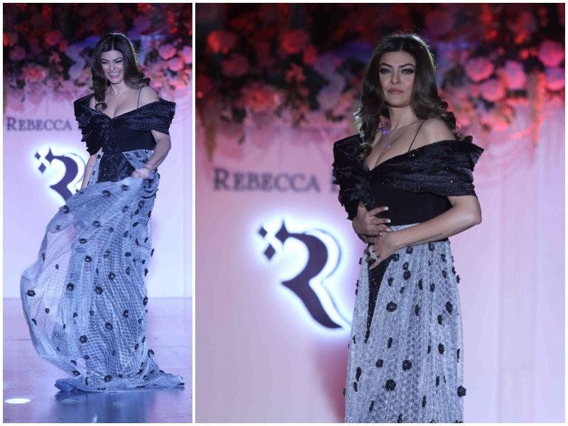 Sushmita Sen,Sushmita Sen rocked the Ramp,Sushmita Sen in Black dress,Sushmita Sen in Black dress at Mumbai Fashion Show,Sushmita Sen at Mumbai Fashion Show,Mumbai Fashion Show,Fashion Show,actress Sushmita Sen,Sushmita Sen latest pics,Sushmita Sen latest