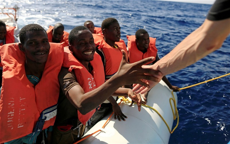 Migrants from African countries,African countries,Migrants,Libyan coast,Mediterranean Sea,Migrants plucked from overloaded dinghy,Sicilian port
