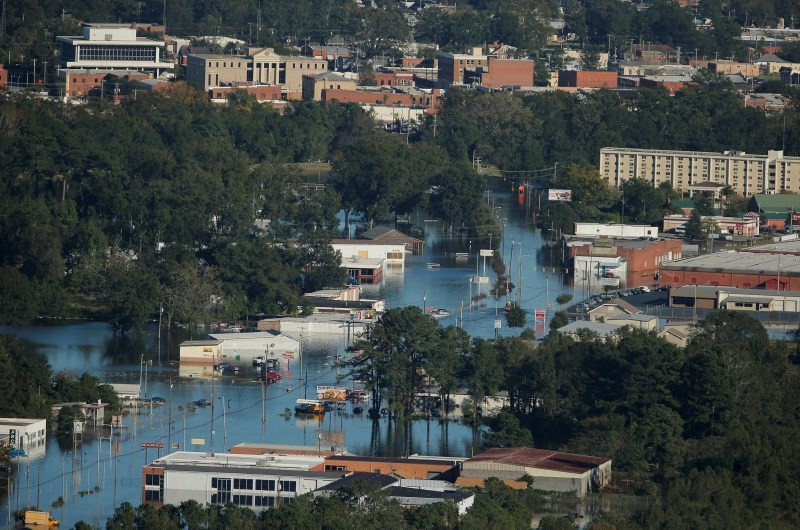 An aerial view shows flood waters after Hurricane Matthew in Lumberton, North Carolina.