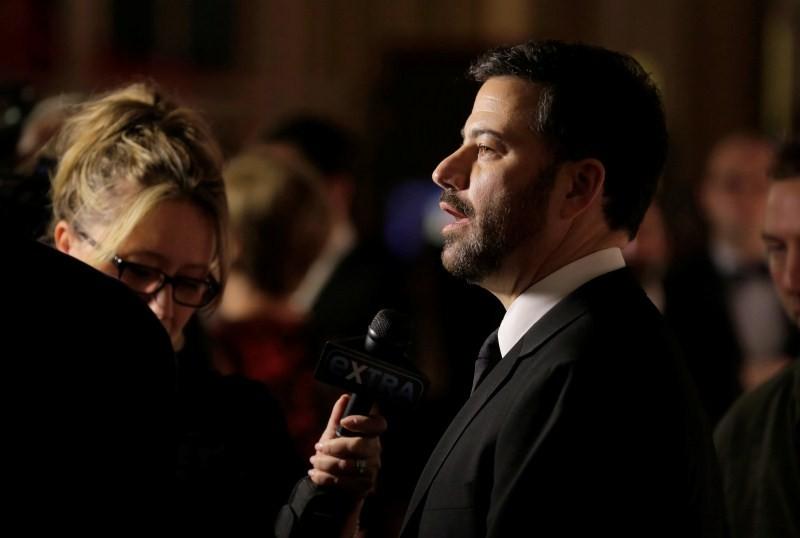 Jimmy Kimmel speaks to the media.
