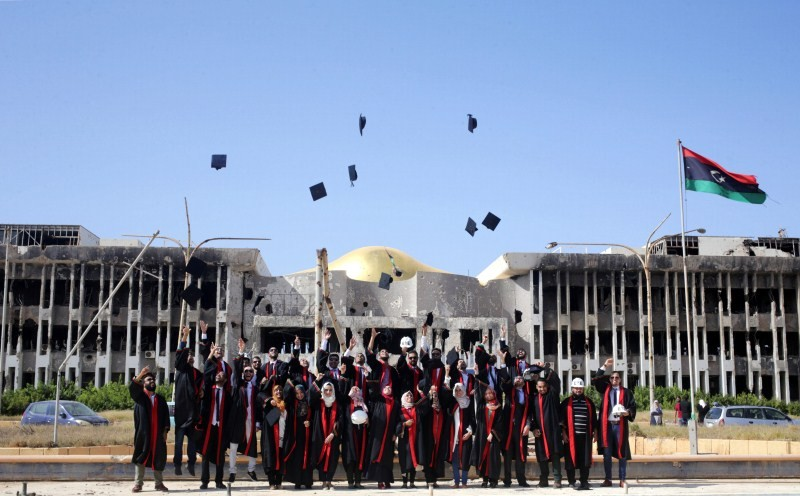 College graduates,Benghazi University,Libyan school,Student clashes,College graduates in a war zone
