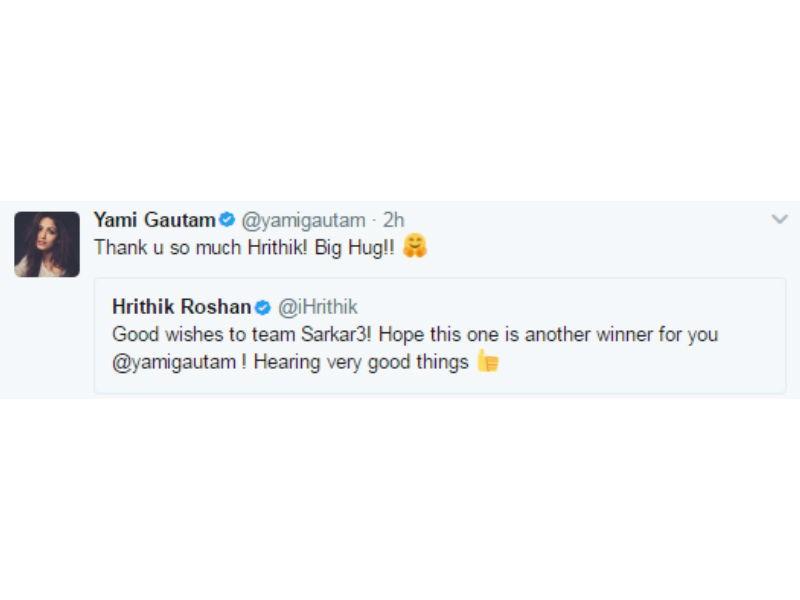 Hrithik Roshan,Sarkar 3 release,Sarkar 3,Yami Gautam,Hrithik Roshan wishes Yami Gautam