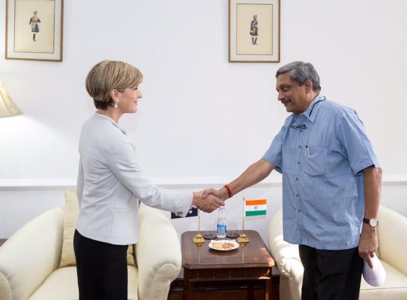Julie Bishop,Sushma Swaraj,Manohar Parrikar,Uma Bharti,Australian Minister,indian minister,Foreign Affairs,Julie Bishop in New Delhi