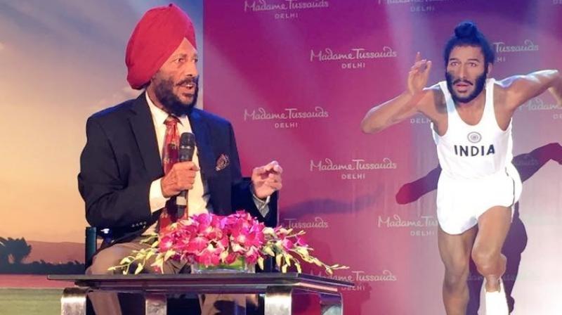 Milkha Singh unveils wax figure,Milkha Singh wax figure,Milkha Singh,Flying Sikh,Milkha Singh wax statue,Madame Tussauds
