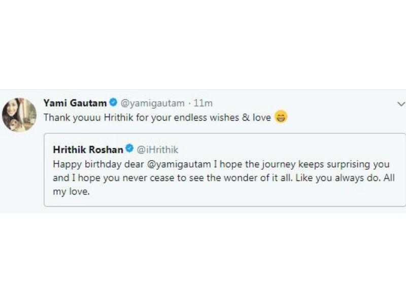 Hrithik Roshan,Hrithik Roshan wishes Yami Gautam,Yami Gautam,Yami Gautam birthday,Kaabil co-star,Kaabil