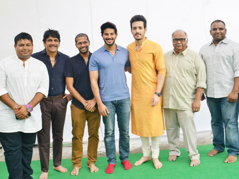 Nagarjuna Akkineni,Amala,Akhil Akkineni,Akhil Akkineni new movie,Akhil Akkineni new movie launch,Akhil Akkineni new movie pooja,Dulquer Salman