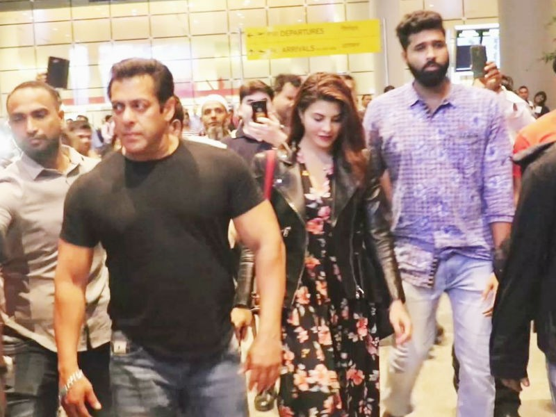 Salman Khan and Jacqueline Fernandez,Salman Khan,Jacqueline Fernandez,Race 3,Race 3 team,Race 3 movie team,Race 3 at airport,Salman Khan at airport,Jacqueline Fernandez at airport