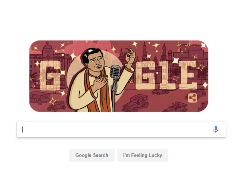 Doodle,google doodle,K.L. Saigal,K.L. Saigal birthday,legendary singer