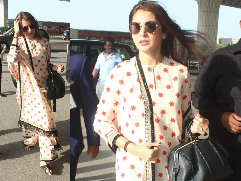 Anushka Sharma,actress Anushka Sharma,Anushka Sharma at Airport,Anushka Sharma at Mumbai Airport,Anushka Sharma in Sabyasachi kurta-palazzo,Virat Kohli,Virat Kohli wife