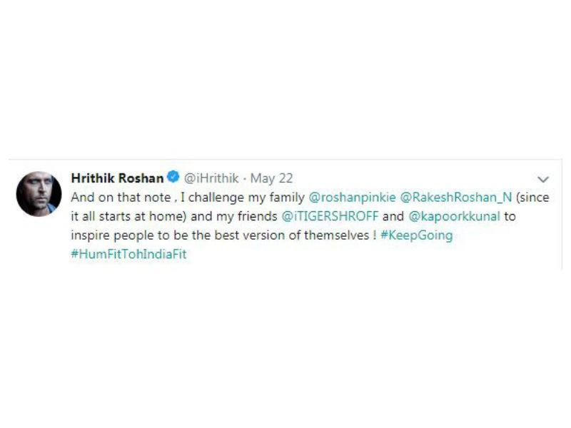 Hrithik Roshan,actor Hrithik Roshan,fitness challenge,Hrithik Roshan fitness challenge,fitness challenge video,fitness challenge pics,fitness challenge images,Tiger Shroff,Rakesh Roshan,Kunal Kapoor
