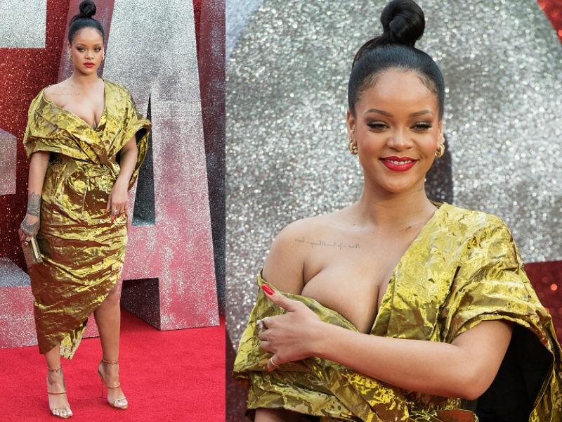 Singer Rihanna,Rihanna curves,Rihanna wardrobe malfunction,Rihanna wardrobe malfunction pics,Rihanna wardrobe malfunction images,Rihanna wardrobe malfunction stills,Rihanna at Ocean 8 premiere