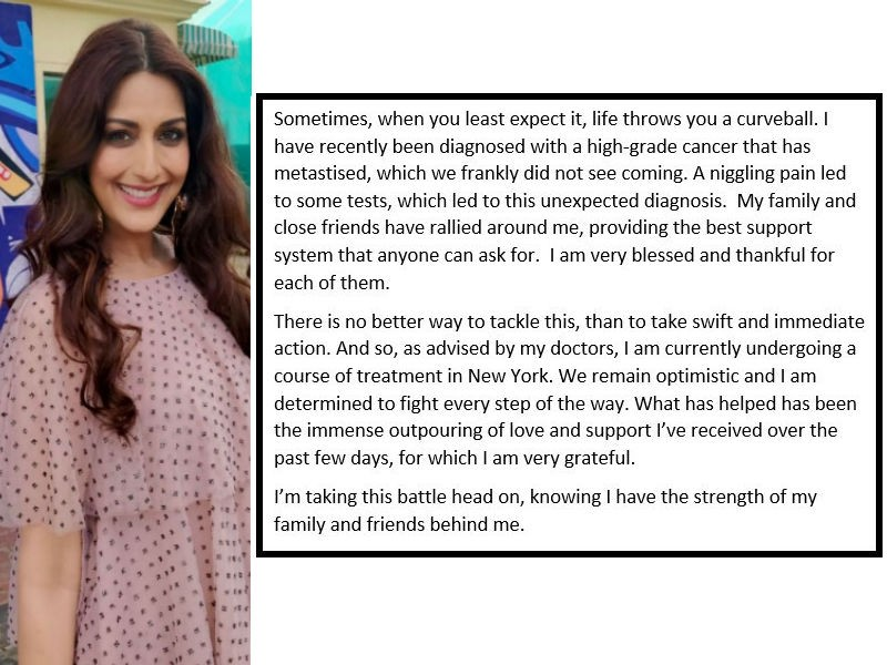 Sonali Bendre,sonali bendre cancer,sonali bendre diagnosed with cancer,Sonam Kapoor,Karan Johar,Abhishek Bachchan,Sonali Bendre with cancer