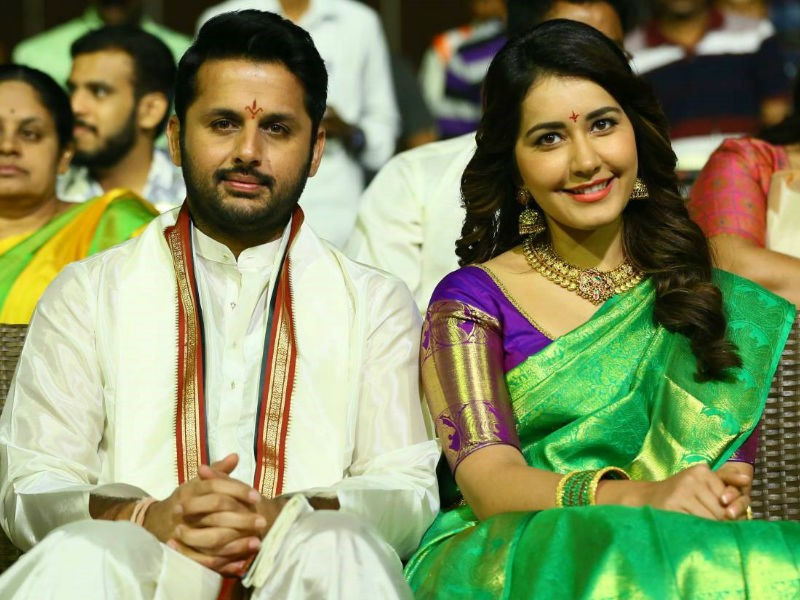 Nithin Raashi Khanna At Srinivasa Kalyanam Audio Launch Photos
