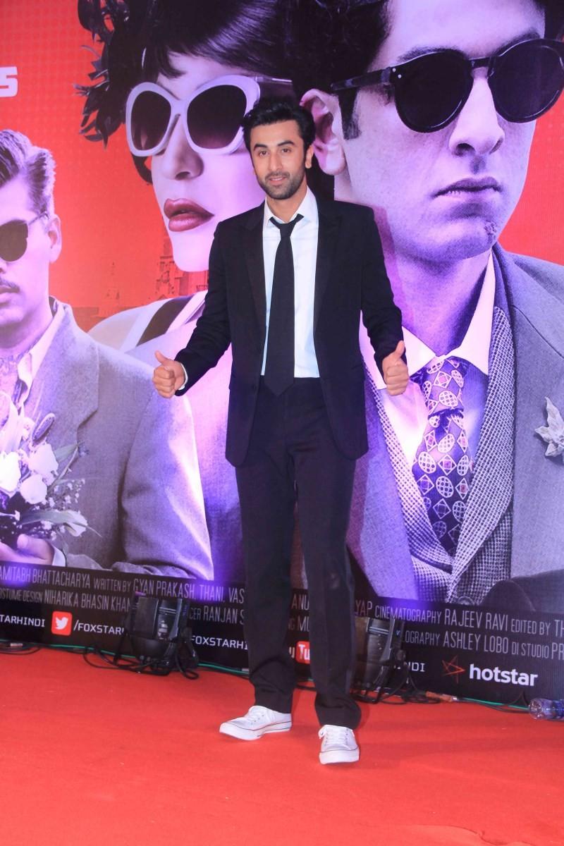 Ranbir Kapoor,actor Ranbir Kapoor,Ranbir Kapoor pics,Ranbir Kapoor images,Ranbir Kapoor latest pics,Ranbir Kapoor at Bombay Velvet Second Trailer Launch,Bombay Velvet Second Trailer Launch,Bombay Velvet
