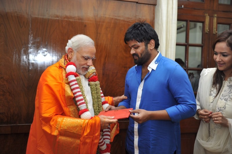 Manoj Manchu with Prime Minister Narendra Modi