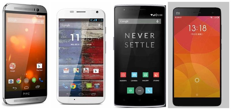 Xioami MI 4 vs HTC One M8 vs Motorola Moto X 2014 vs OnePlus One