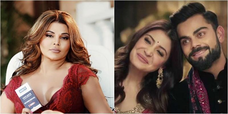 Rakhi Sawant (left) Virat and Anushka (right)