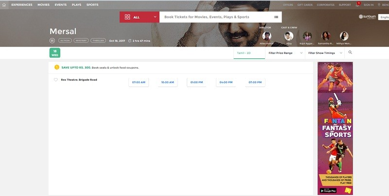 A screen shot of Mersal Advance Booking in Book My Show