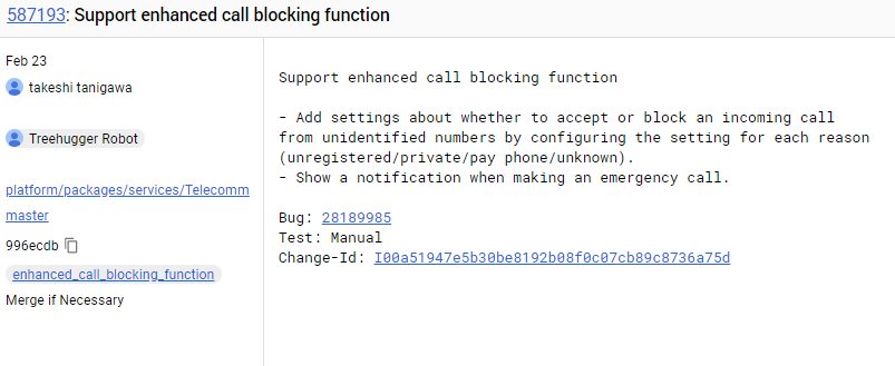 Android P enhanced call blocking feature commit