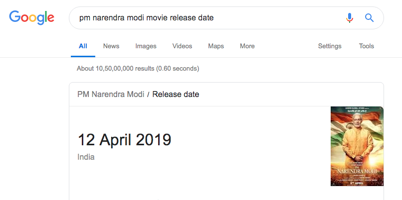 PM Narendra Modi movie release date is now April 12, claims Google