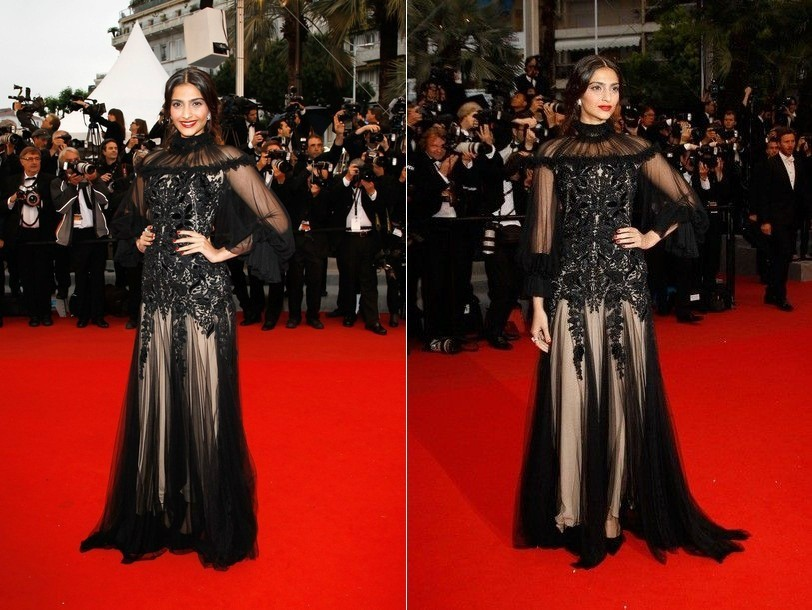 Actress Sonam Kapoor at Cannes red carpet 2012. Image Credit: Twitter/ Sonam kapoor