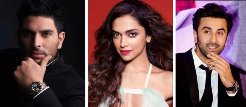 Yuvraj Singh, Deepika Padukone and Ranbir Kapoor