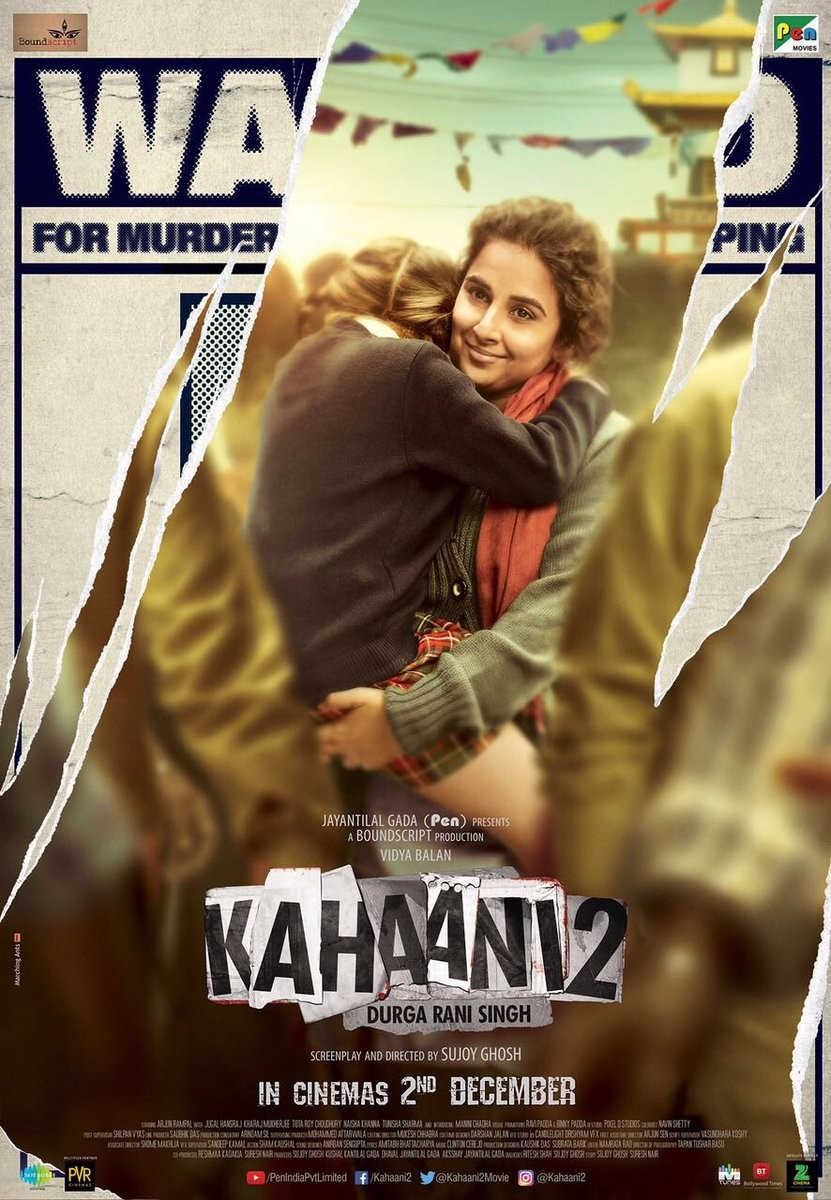 """""""Kahaani 2"""" is jointly produced by Kushal Kantilal Gada, Dhaval Jayantilal Gada, Aksshay Jayantilal Gada and Sujoy Ghosh. The film, which is slated to hit the screens on December 2, also features Arjun Rampal in a key role."""