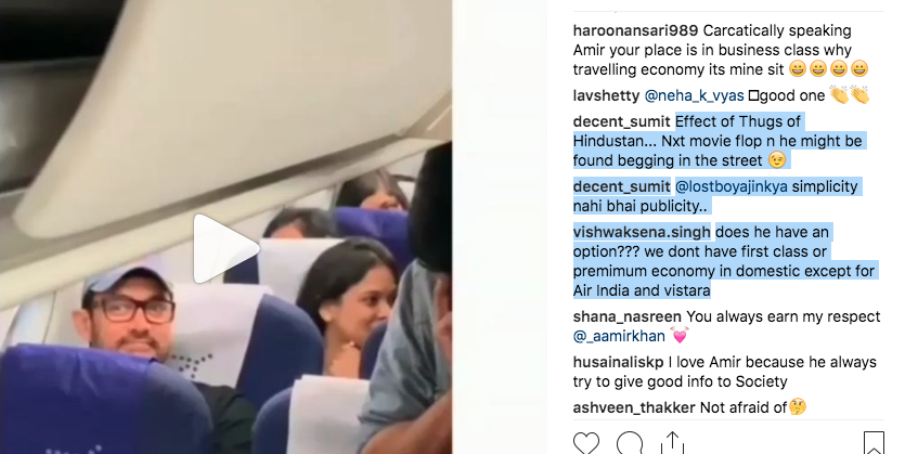Aamir Khan trolled for travelling in economy class