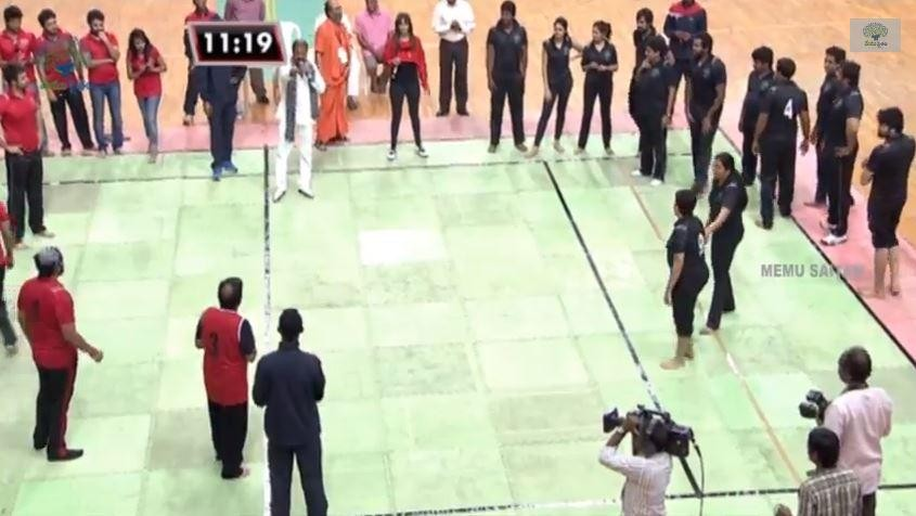 Actor Mohan Babu disciplined boys of Red Panthers and Black Tigers at Kabaddi with Stars event.