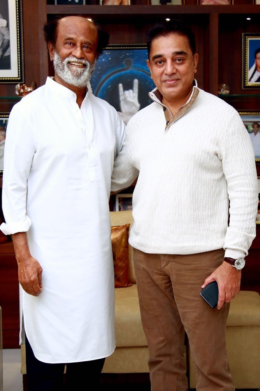 Kamal Haasan,Rajinikanth,Kamal Haasan meets Rajinikanth,Kamal Haasan visits Rajinikanth,Kamal Haasan wallpaper,Rajinikanth wallpaper