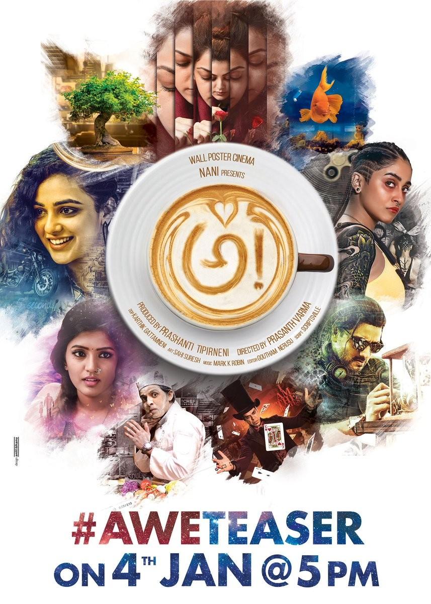 Kajal Aggarwal,Nithya Menen,Regina Cassandra,Awe movie poster,Awe poster,Awe,Telugu film awe poster,Nani,actor nani