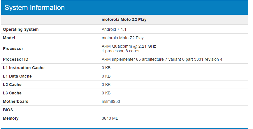 Moto Z2 Play spotted on Geekbench