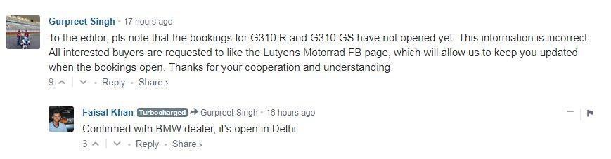 BMW G 310 R, BMW India