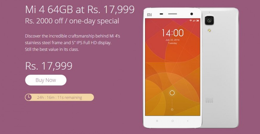 Xiaomi Mi4 Price Slashed in India, Available for Less Than ₹13,000 on Flipkart via Exchange Deal