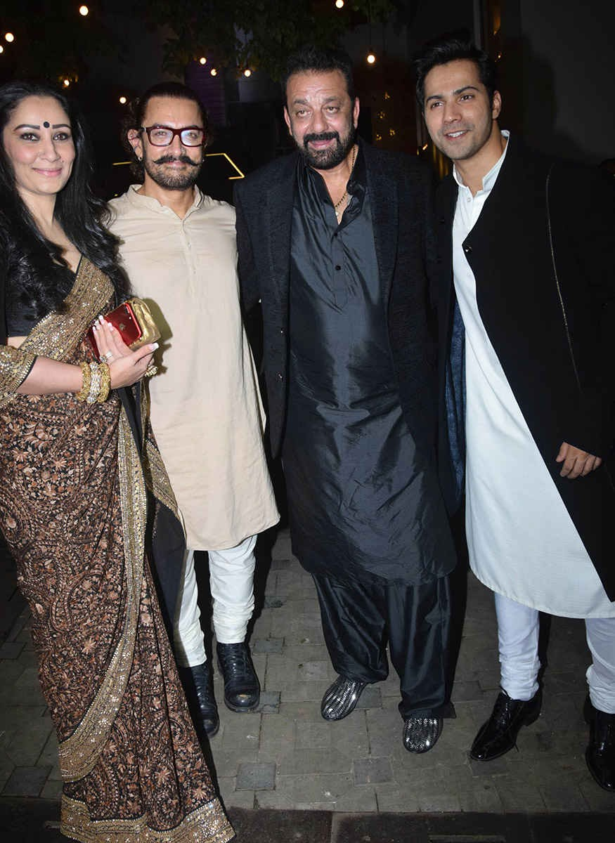 Sanjay Dutt,Varun Dhawan,Arpita Khan,Aamir Khan Diwali Party,Aamir Khan Diwali Party pics,Aamir Khan Diwali Party images,Aamir Khan Diwali Party stills,Aamir Khan Diwali Party pictures,Aamir Khan Diwali Party photos