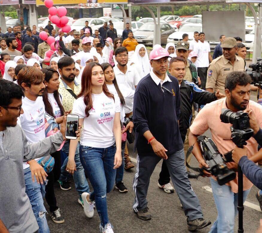 Tamannaah,actress Tamannaah,Tamannaah Bhatia,Pink Ribbon walk,breast cancer awareness,Tamannaah Bhatia at breast cancer awareness,Pink Ribbon campaign