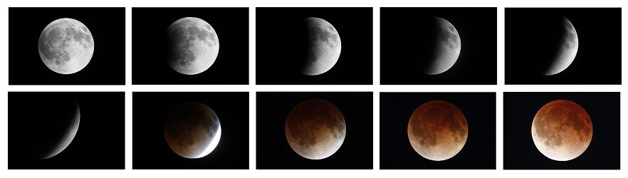 A combination photo shows the moon during a total lunar eclipse as seen from Mexico City (Reuters)