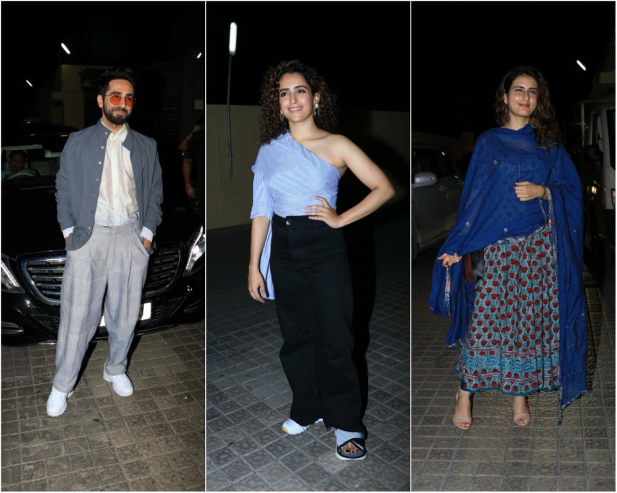 Ayushmann Khurrana,Sanya Malhotra,Fatima Sana Shaikh,Badhaai Ho special screening,Badhaai Ho special screening pics,Badhaai Ho special screening images,Badhaai Ho special screening stills,Badhaai Ho special screening pictures,Badhaai Ho special screening