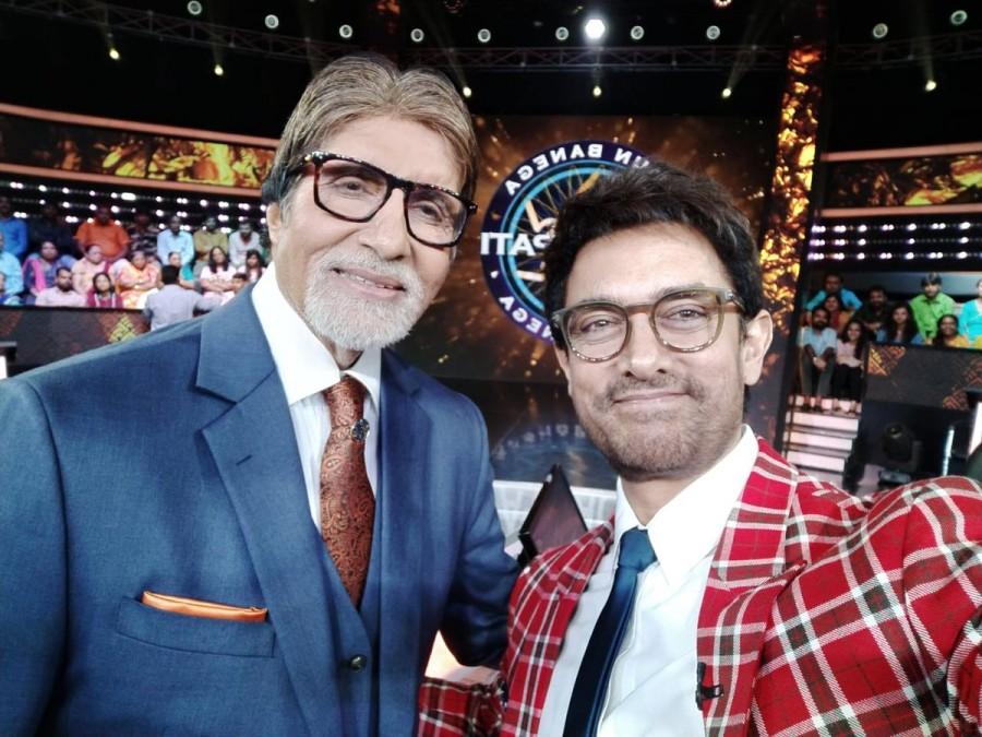 Thugs Of Hindostan,Aamir Khan,Aamir Khan with Amitabh Bachchan,Amitabh Bachchan,Kaun Banega Crorepati,Aamir Khan selfie with Amitabh Bachchan,Aamir Khan on Kaun Banega Crorepati,Aamir Khan KBC