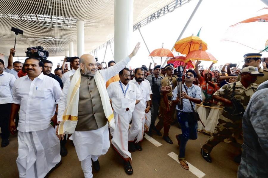 BJP President Amit Shah,Amit Shah,Amit Shah at Kannur airport,Kannur airport,President Amit Shah,Amit Shah at new international airport