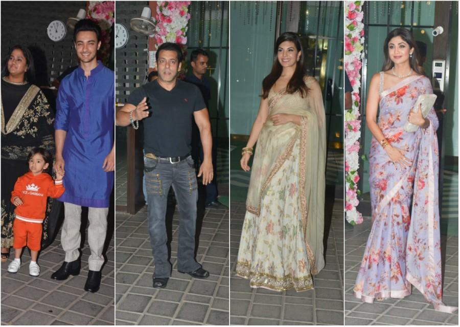 Arpita Khan Diwali bash,celebs at Arpita Khan Diwali bash,Arpita Khan Diwali bash pics,Arpita Khan Diwali bash images,Salman Khan,Jacqueline Fernandez,Shilpa Shetty,Sonakshi Sinha,Riteish Deshmukh