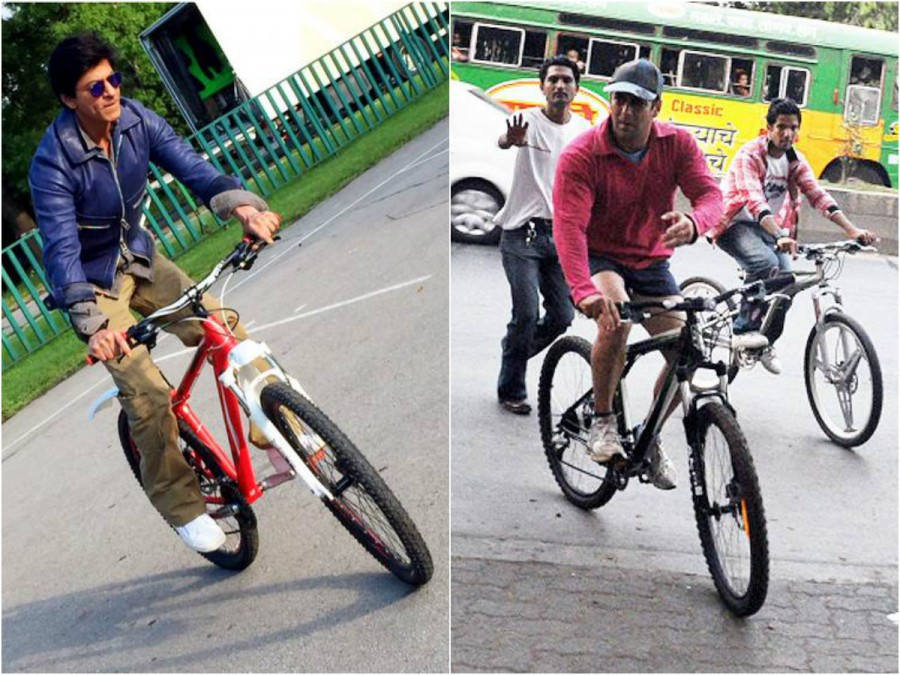 Shahrukh Khan,Salman Khan,SRK,Shahrukh Khan Cycling,Salman Khan Cycling,celebs who love Cycling,celebs Cycling,Celebrities on Cycling,Cycling Celebs,cycling celebrities,Shah rukh Khan