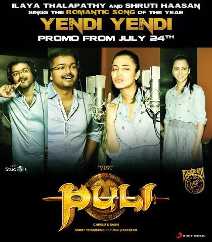 Puli Movie Yendi Yendi Song Promotion Posters,Yendi Yendi Song Posters,Yendi Yendi,Vijay and Shruti Haasan,Vijay,Shruti Haasan,Puli movie song