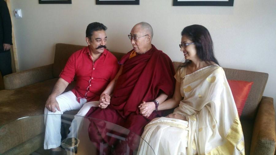 Kamal haasan,thoongavanam,kamal haasan meets dalai lama,dalai lama with celebs,Gautami kamal haasan with dalai lama
