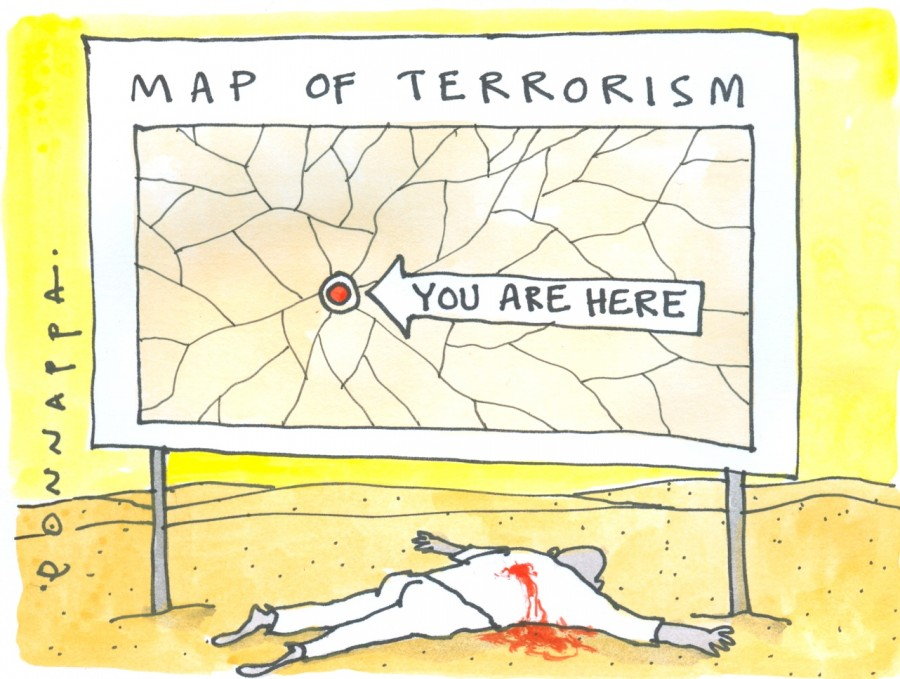 IBTimes cartoon,terrorism cartoon,Ponnappa cartoon