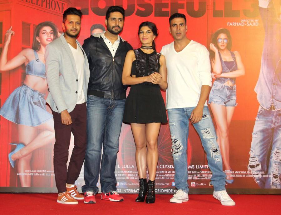 Akshay Kumar, Abhishek Bachchan, Riteish Deshmukh and Jacqueline Fernandez at Housefull 3's first song launch