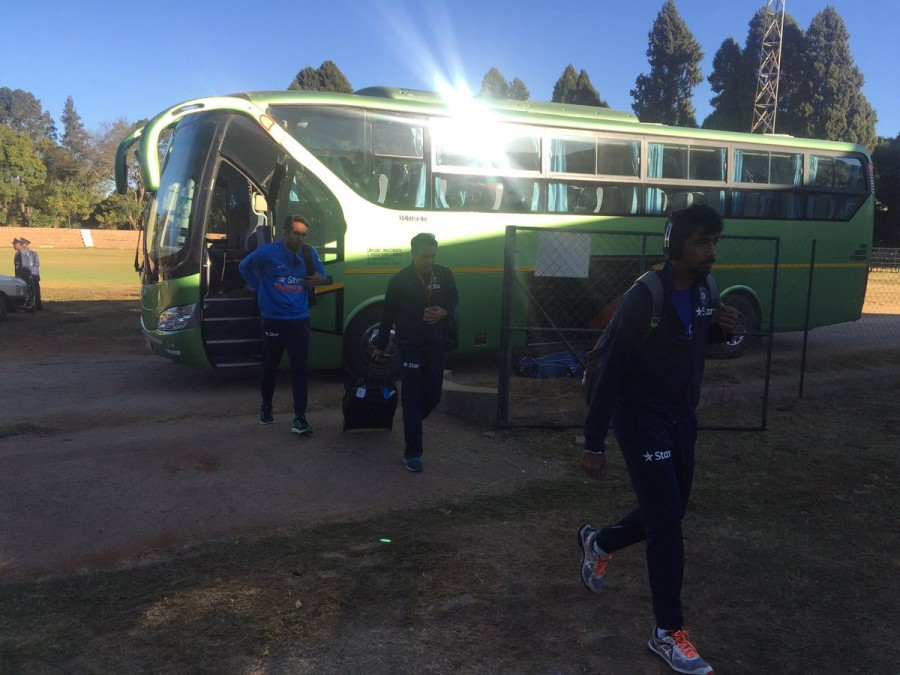 Team India arrived for the 1st ODI at the Harare Sports Club.