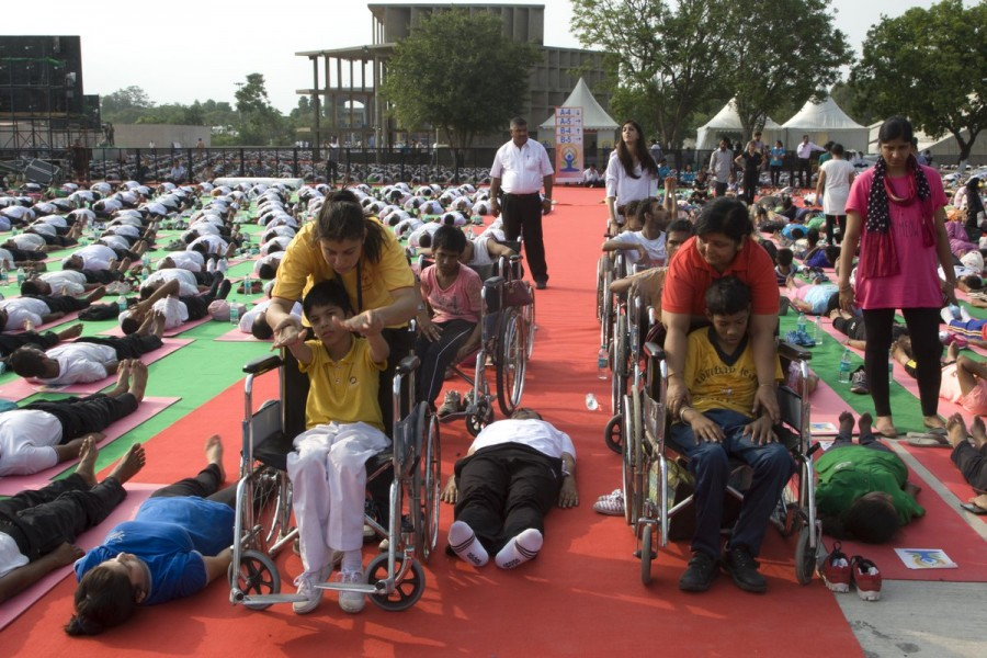 International Yoga Day,International Yoga Day 2016,International Yoga Day rehearsal,Yoga Day rehearsal,Chandigarh Yoga day rehearsal,Narendra Modi,PM Narendra Modi,modi,International Yoga Day celebrations,International Yoga Day pics,International Yoga Day